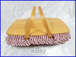 1998 Longaberger Red Gourmet Medium Gathering Basket LID Protector & Liner Set