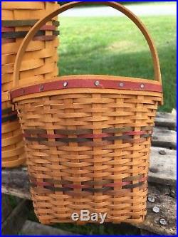 1999 Longaberger Miniature + Large 6 Sided Award Basket Set w. Tami signature