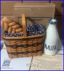 2000 Longaberger Jw Miniature Bread & Milk Basket Set, Milk Bottle & Bread