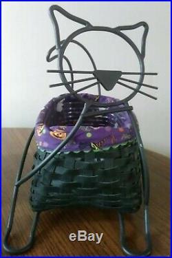 2009 Longaberger BLACK CAT Halloween basket wrought iron, liner & protector set