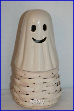 2013 Longaberger Boo Ghost Basket, Pottery Lid, Protector, Halloween Set