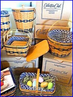 ENTIRE LOT 12 JW Longaberger Miniature Mini Basket Set, COAs Liners Protectors