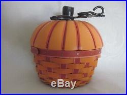 HTF Longaberger 2012 Collectors Club PUMPKIN Basket Set Ceramic Lid Protector