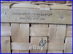 LONGABERGER BOARDWALK BASKET SET WithCLOTH & PLASTIC LINER LEATHER HANDLES X-LARGE