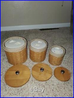 LONGABERGER Basket Canister Set/Combo 3 Baskets with Inserts & Lids Warm Brown