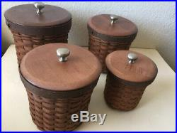LONGABERGER Canister Baskets Set of 4 sealable protectors warm brown 2007