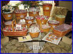 LONGABERGER Grandma Bonnie's May Series Complete set 14 Baskets LOT & extras