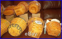 LONGABERGER Grandma Bonnie's May Series Lot 11 of the 14 Basket Set & extras