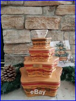 LONGABERGER Shining Star Basket Combo Set 4 baskets and Star Dish