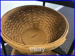 LONGABERGER WROUGHT IRON RACK 4 Tier Woven Bowl Baskets Set corner metal vintage