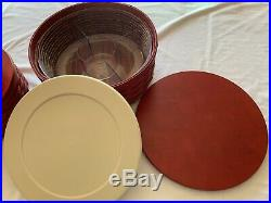 Longaberger 13 11 & 9 Round Red Keeping Basket Sets Lids Liners Protectors