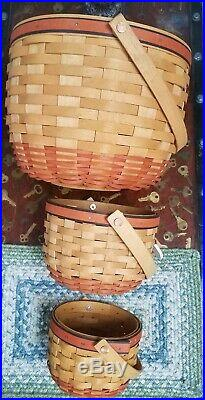 Longaberger 1997, 1996 Set of 3 Pumpkin Baskets-Lids-Liners-Protectors-Prod Card