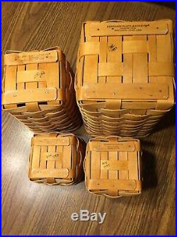 Longaberger 1997 Basket Canister Set With Blue Print Material And Plastic Liners