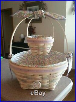 Longaberger 2000 Century Celebration Whitewashed Easter/Jelly Bean Basket Set