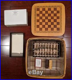 Longaberger 2001 Checkerboard Basket Combo + Pewter Chess Set