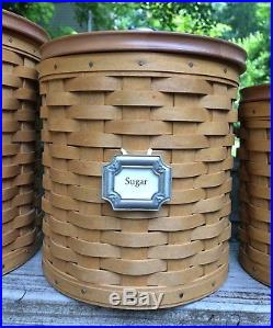 Longaberger 2003 Canister Basket Set of 3 with Lids and Liners