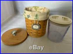 Longaberger 2003 Set of 3 Canister Baskets Lid botanical Liner plastic Protector