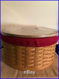 Longaberger 2004 Hat Box Basket Set with Lid Warm Brown Stain Paprika