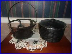 Longaberger 2008 Large Black Cauldron Basket Set with Stand & Cat Knob