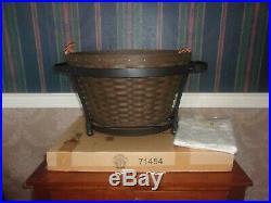 Longaberger 2009 Beverage Tub Basket Set with Wrought Iron Holder Deep Brown