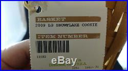 Longaberger 2009 HH Holiday Hostess Large Snowflake Cookie Basket Set with2 Liners