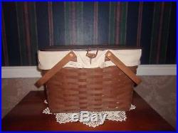 Longaberger 2009 Large Picnic Basket Set Rich Brown Oatmeal