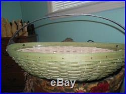 Longaberger 2010 Handled Large Sage Leaf Oval Basket Set