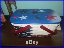 Longaberger 2014 Texas Medium Market Basket Set with Stars and Blue Lid