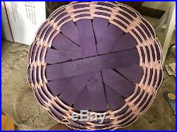 Longaberger 2015 Easter Basket Set Purple WithWood Purple Bunny & Protector NWT
