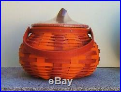 Longaberger 2016 Halloween Collection Large Orange/Spice Pumpkin Basket Set-BPW