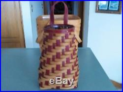 Longaberger 2017 Collector's Club Limited red Holiday Hanging Flower Basket set