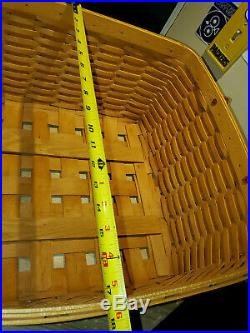 Longaberger All Purpose Laundry Basket Leather Handle Liner Protector Set Used