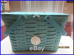 Longaberger Aqua Blue Green Large Picnic Basket Set