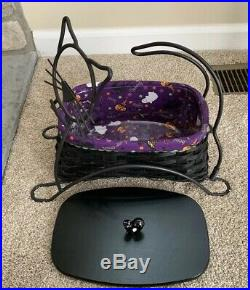 Longaberger BLACK CAT Halloween Basket Wrought Iron, Liner, Lid & Protector Set