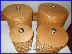Longaberger Basket Canister Set Liners With Sealing Lids 16 Pc. 2006