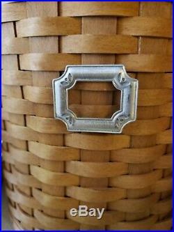Longaberger Basket Canister Set with Lidded Hard Protectors 3 Tie-Ons EUC