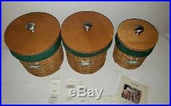 Longaberger Basket Lidded Lidded Canister Set with Green Liner, 2003 and 2004