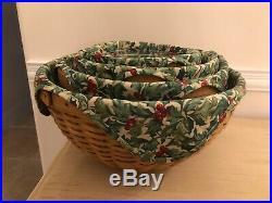 Longaberger Bowl Baskets withprotectors+Liners Set 4 7, 9, 11, 13$209.99