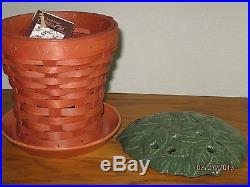 Longaberger CLAY POT BASKET SET & FLORAL FROG & PROTECTOR Collector's Club