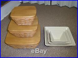 Longaberger CONTOUR FLARE BASKETS & BOWLS (Set 0f 3), SM, Med, Lg.  Displayed