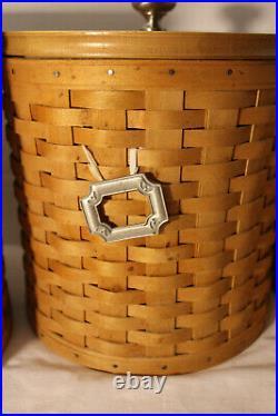 Longaberger Canister Basket Set Of 4, Lids, Protectors & Lids, Tie-on's, Lot