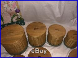 Longaberger Canister Basket Set Set (4) Protectors, Sage Liners, Tie-on Pewter