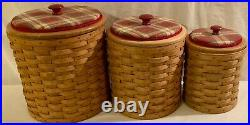 Longaberger Canister Set Of 3 Orchard Park Plaid With Protector Inserts & Lids