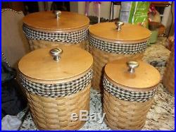 Longaberger Canister Set Of 4 Baskets Resealable Lids Protectors Check Liners