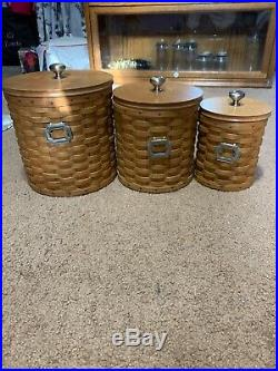 Longaberger Canister Set of 3 Withprotector & tie Ons. Slightly used condition