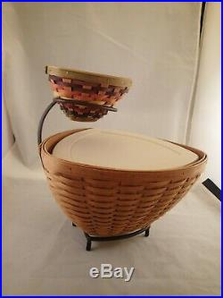Longaberger Chip Dip Fiesta Triangle Basket Set Wrought Iron Serving Stand Liner