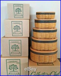 Longaberger Collectors Club Harmony Baskets Set No 1 2 3 4 5 Protectors Box Lid