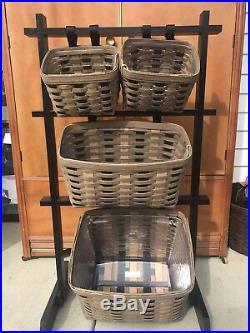 Longaberger Hanging Basket Rack Set Khaki Check Mint Condition