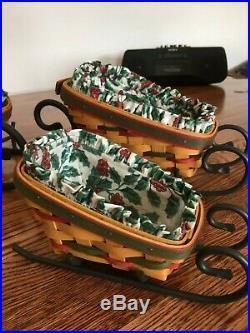 Longaberger Holiday Sleigh Basket Sets. 3 Baskets. 3 Wrought Iron Runners Mint