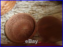 Longaberger Keeping Basket Set Of 5 Wood Lids And Accessories